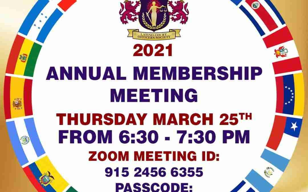 2021 Annual Membership ZOOM Meeting